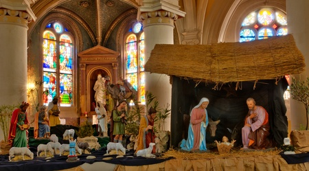 Ile de France, nativity scene in Triel sur Seine church