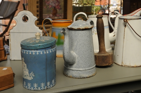 antiquary: old objects on a flea market Stock Photo