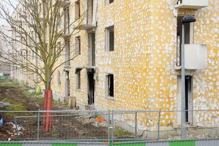 squalid: Ile de France, demolition of an old building in Les Mureaux
