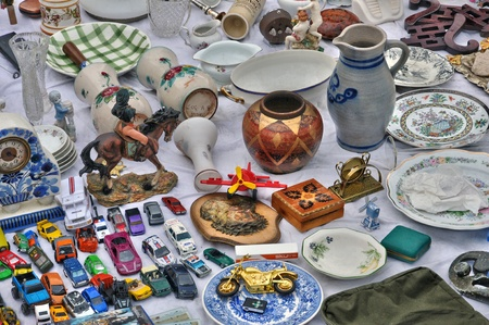 secondhand trade: Belgium, old objects at Marolles district flea market in Brussels