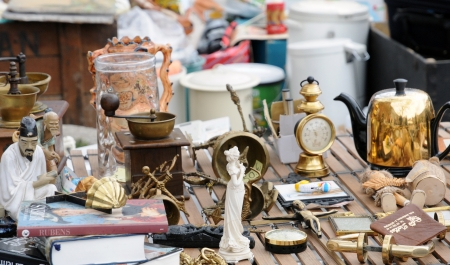 Belgium, old objects at Marolles district flea market in Brussels