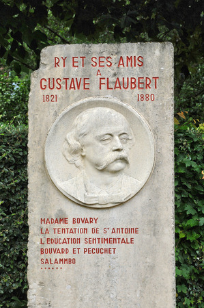 ry: France, Gustave Flaubert stele in the village of Ry in Seine Maritime Editorial
