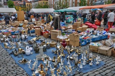 secondhand: Belgium, old objects at Marolles district flea market in Brussels