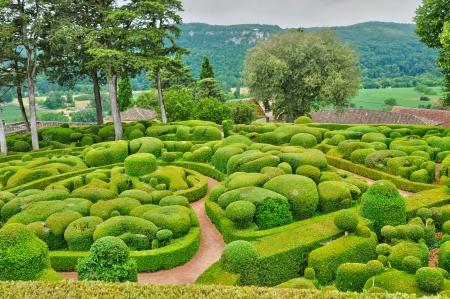 Frankrijk, de schilderachtige tuin van Marqueyssac in Dordogne
