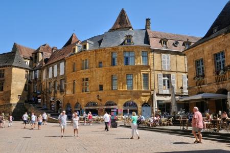aquitaine: France, the picturesque city of Sarlat la Caneda in Dordogne