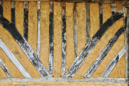 half  timbered: France,close up of an half timbered house in Cambremer in Normandie