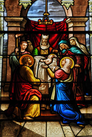 glasswork: France, stained glass window in the church of Houlgate in Normandy Editorial