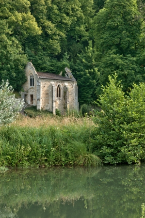 fontaine: France, the picturesque  Fontaine Guérard abbey of Radepont in Normandie