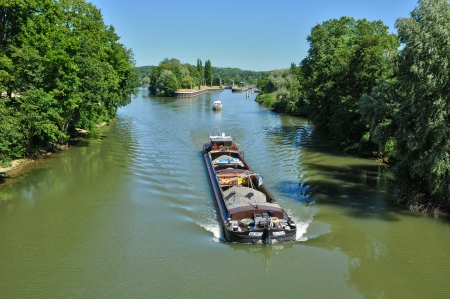 France, barge on Oise river in l Isle Adam in Isle de France Stock Photo