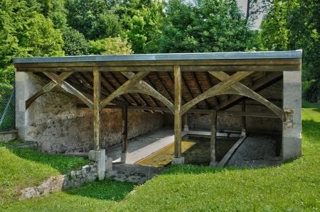washhouse: France, the picturesque washhouse of Jouy le Moutier in Ile de France Stock Photo