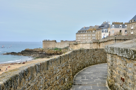 ramparts: France, the picturesque city of Saint Malo in Bretagne Stock Photo