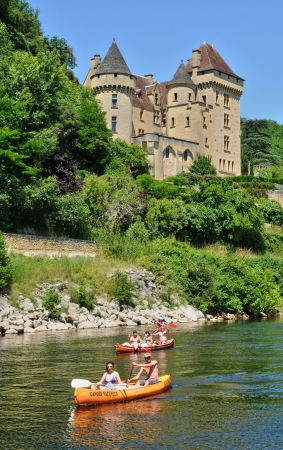 middle ages boat: France, the picturesque castle of La Malartrie in Vezac