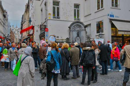 the piss: Belgium, the picturesque manneken piss city of Brussels Editorial