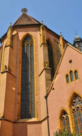 haut rhin: France, the saint Matthieu church of Colmar in Haut Rhin Stock Photo