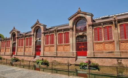 haut rhin: Francia, el mercado cubierto de Colmar en Haut Rhin