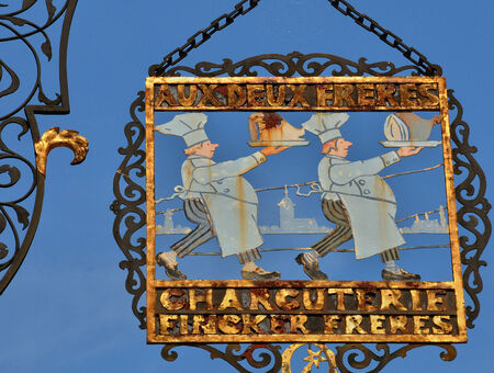 haut rhin: France, a picturesque sign in the city of Colmar in Haut Rhin