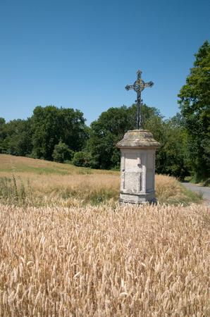 contryside: Ile de France, an iron cross in a wheat field in Nucourt