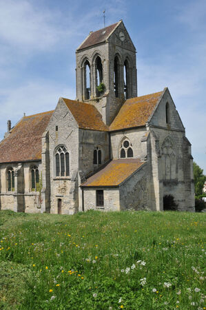 en: Ile de France, the picturesque church of Clery en Vexin