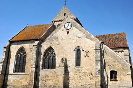 Ile de France, the church of Seraincourt in Val d Oise Stock Photo - 28281049