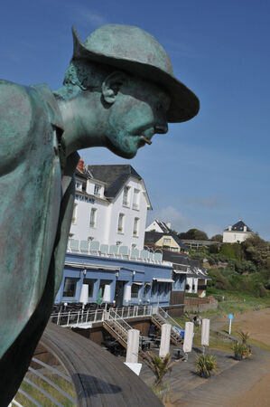 marc: France; the statue of Monsieur Hulot on the beach of Saint Marc sur Mer