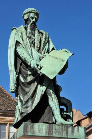 gutenberg: France, the Gutenberg statue in Strasbourg in Bas Rhin