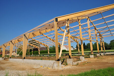 les: Ile de France, wooden building in Arnouville les Mantes  in les Yvelines Stock Photo