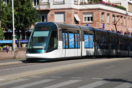 bas: France, tramway in city of Strasbourg in Bas Rhin  Editorial
