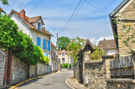 ile de france: Ile de France, the picturesque village of Medan  Stock Photo