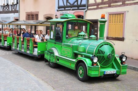 touristy: France, touristy train in the city of Colmar in Alsace Editorial