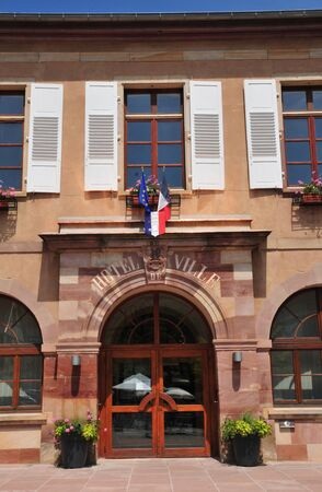 andlau: France, the picturesque city hall of  Andlau in Alsace