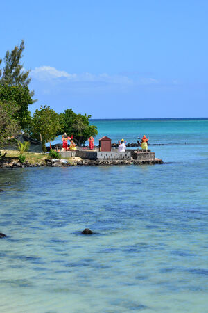 aux: Africa,  indian temple in La Pointe aux Canonniers in Mauritius Republic