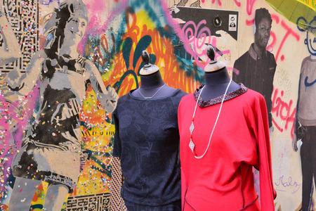 clothe: France, a clothe shop in the city of Paris Editorial