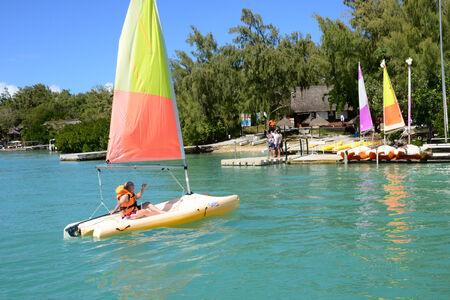 aux: Mauritius, the picturesque Ile aux cerfs in Mahebourg area Editorial