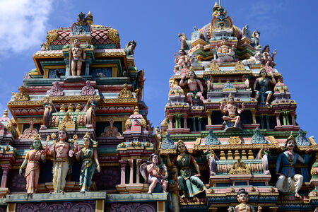 Mauritius, the picturesque indian temple of Goodlands 版權商用圖片