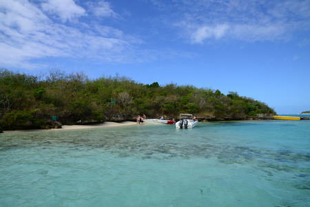 ocea: Africa, the picturesque egret island in Blue Bay near Mahebourg