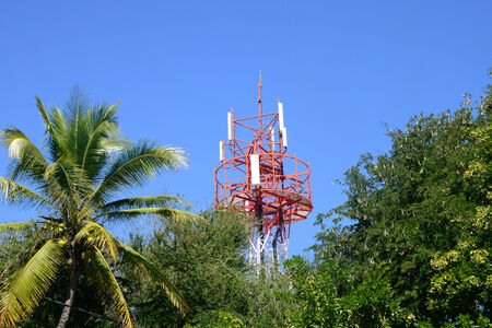 great bay: Africa, a relay mast in great bay in Mauritius Island Stock Photo
