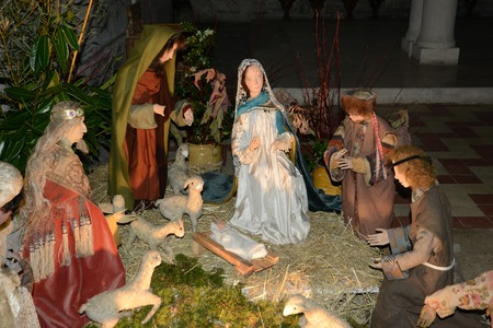 Picardie, nativity scene in Saint Jean aux Bois church
