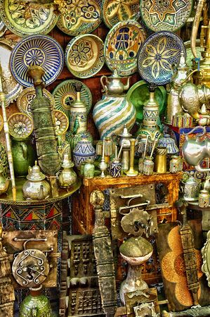 bric: Morocco, old objects in an antique shop in Marrakesh