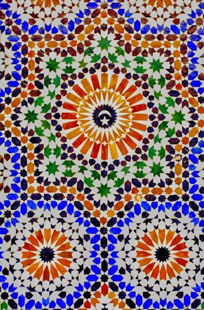 marrakesh: Morocco, mosaic detail of an old palace in Marrakesh
