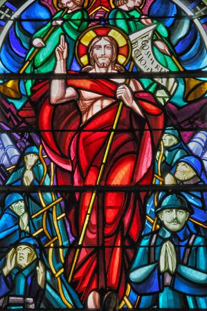 glasswork: France, stained glass window of Beuvron en Auge church in Normandy
