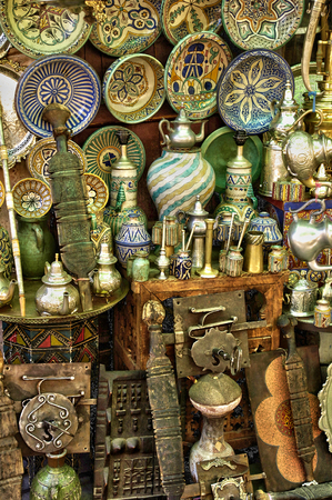 Morocco, old objects in an antique shop in Marrakesh