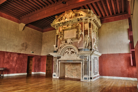 France,  renaissance fire place in the castle of Cadillac in Gironde