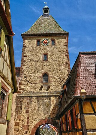 alsace: Haut Rhin, the village of Bergheim  in Alsace