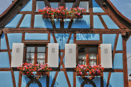 alsace: France, Alsace, the picturesque old old village of Eguisheim Stock Photo