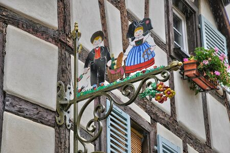 alsace: France, Alsace, picturesque old house in Eguisheim