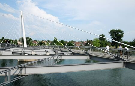 Footbridge: Strasbourg, footbridge of two banks between France and Germany Stock Photo