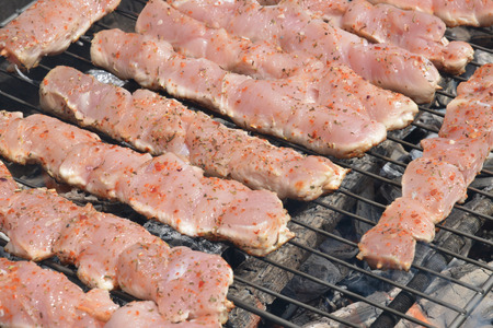 chiken: Close up of chiken meat on a barbecue