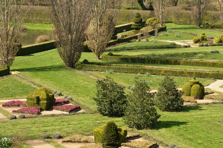 formal garden: France, the picturesque formal garden of  Cormatin in Saone et Loire Editorial