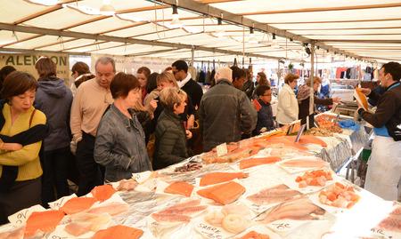 grocery trade: Ile de France, fish shop on the market of Saint Germain en Laye Editorial