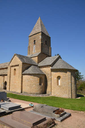 bourgogne: France, the picturesque church of Brancion in saone et loire